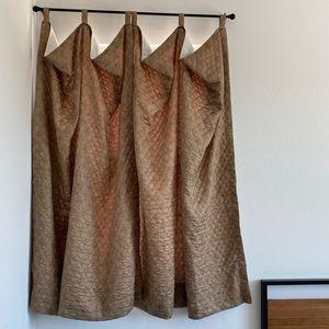 Quilted Gold Drape Window Darkening Curtains 2
